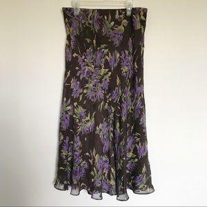 Jones New York Signature Silk Floral Skirt Medium